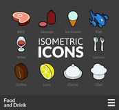 Isometric outline icons set 56. Isometric outline icons, 3D pictograms vector set 56 - Food and drink symbol collection royalty free illustration