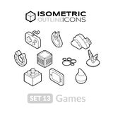 Isometric outline icons set 13 Stock Photo