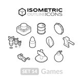 Isometric outline icons set 14 Royalty Free Stock Images