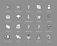 Isometric outline icons set. Isometric outline icons, 3D pictograms vector set - Holidays symbol collection Stock Photo