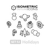 Isometric outline icons set 52 Stock Photography