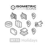 Isometric outline icons set 51. Isometric outline icons, 3D pictograms vector set 51 - Holidays symbol collection Royalty Free Stock Photography