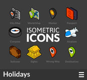 Isometric outline icons set 51. Isometric outline icons, 3D pictograms vector set 51 - Holidays symbol collection Stock Photo