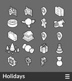 Isometric outline icons set. Isometric outline icons, 3D pictograms vector set - Holidays symbol collection Royalty Free Stock Photos