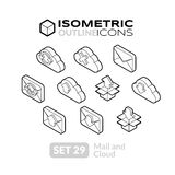 Isometric outline icons set 29. Isometric outline icons, 3D pictograms vector set 29 - Mail and cloud symbol collection Royalty Free Stock Photo