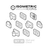 Isometric outline icons set 30. Isometric outline icons, 3D pictograms vector set 30 - Mail and cloud symbol collection Stock Image