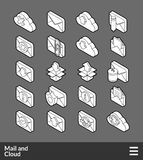Isometric outline icons set. Isometric outline icons, 3D pictograms vector set - Mail and cloud symbol collection Stock Photography