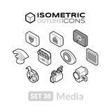 Isometric outline icons set 38. Isometric outline icons, 3D pictograms vector set 38 - Media symbol collection Stock Photo