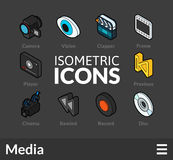 Isometric outline icons set 38. Isometric outline icons, 3D pictograms vector set 38 - Media symbol collection Royalty Free Stock Photo