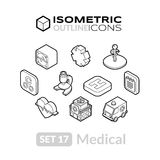 Isometric outline icons set 17. Isometric outline icons, 3D pictograms vector set 17 - Medical symbol collection Stock Photos