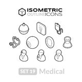Isometric outline icons set 19 Stock Photo