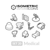 Isometric outline icons set 20. Isometric outline icons, 3D pictograms vector set 20 - Medical symbol collection Royalty Free Stock Photos