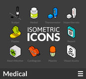 Isometric outline icons set 18. Isometric outline icons, 3D pictograms vector set 18 - Medical symbol collection Stock Images