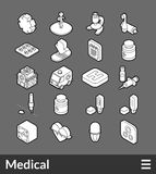 Isometric outline icons set. Isometric outline icons, 3D pictograms vector set - Medical symbol collection Stock Photos