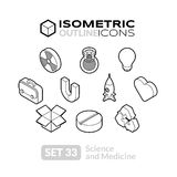Isometric outline icons set 33 Stock Photo