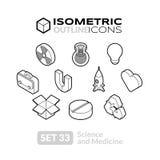 Isometric outline icons set 33 Stock Photo