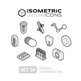 Isometric outline icons set 34. Isometric outline icons, 3D pictograms vector set 34 - Science and medicine symbol collection Royalty Free Stock Images
