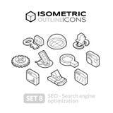 Isometric outline icons set 8 Stock Image