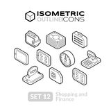 Isometric outline icons set 12. Isometric outline icons, 3D pictograms vector set 12 - Shopping and finance symbol collection Royalty Free Stock Image
