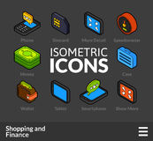 Isometric outline icons set 12. Isometric outline icons, 3D pictograms vector set 12 - Shopping and finance symbol collection Royalty Free Stock Photography