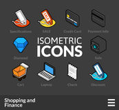 Isometric outline icons set 11. Isometric outline icons, 3D pictograms vector set 11 - Shopping and finance symbol collection stock illustration