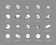 Isometric outline icons set. Isometric outline icons, 3D pictograms vector set - Sport and game symbol collection Stock Photo