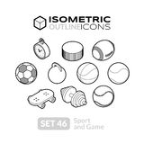 Isometric outline icons set 46 Royalty Free Stock Images