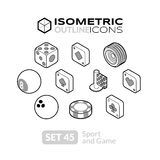 Isometric outline icons set 45 Royalty Free Stock Photos