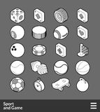 Isometric outline icons set Royalty Free Stock Photos