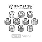 Isometric outline icons set 26 Royalty Free Stock Image