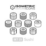 Isometric outline icons set 25. Isometric outline icons, 3D pictograms vector set 25 - Sushi symbol collection Stock Images