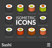 Isometric outline icons set 25. Isometric outline icons, 3D pictograms vector set 25 - Sushi symbol collection Royalty Free Stock Image