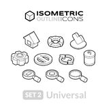 Isometric outline icons set 2. Isometric outline icons, 3D pictograms vector set 2 - universal symbol collection Stock Image