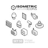 Isometric outline icons set 50. Isometric outline icons, 3D pictograms vector set 50 - Vintage and retro symbol collection vector illustration