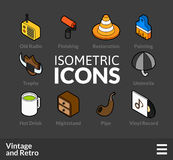 Isometric outline icons set 50. Isometric outline icons, 3D pictograms vector set 50 - Vintage and retro symbol collection royalty free illustration