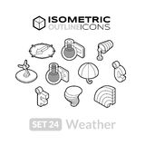 Isometric outline icons set 24 Stock Photos