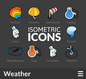 Isometric outline icons set 24. Isometric outline icons, 3D pictograms vector set 24 - Weather symbol collection Royalty Free Stock Photo