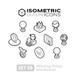 Isometric outline icons set 58. Isometric outline icons, 3D pictograms vector set 58 - Winning, Prizes and awards symbol collection Royalty Free Stock Photos