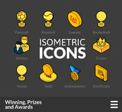 Isometric outline icons set 58. Isometric outline icons, 3D pictograms vector set 58 - Winning, Prizes and awards symbol collection Stock Photo