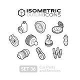 Isometric outline icons set 36. Isometric outline t icons, 3D pictograms vector set 36 - Car parts and services symbol collection Royalty Free Stock Photo