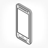 Isometric outline phone Stock Image