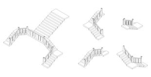 Isometric outline stairs plan with a rail. Vector illustration. Isometric outline stairs plan with a railings. Vector illustration Royalty Free Stock Images