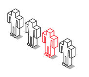 Isometric outline unique man Stock Photography