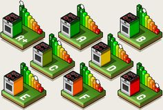 Isometric Oven Energy Efficiency Classes Royalty Free Stock Images