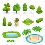 Isometric płascy wektorowi drzewo elementy dla krajobrazowego projekta Różnorodność drzewa ustawiający na bielu Drzewa, krzaki, k ilustracja wektor