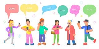 Isometric płaski wektorowy pojęcie gawędzeń ludzie, ogólnospołeczna sieci dyskusja ilustracji