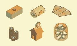 Isometric Płaski projekt ikony finanse ustawia 1 Zdjęcia Stock