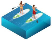 Isometric Paddleboard beach men and women on stand up paddle board surfboard surfing in ocean sea. Water sport concept. Active summer vacations with paddle vector illustration