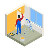 Isometric Paintroller painting white wall with roller red paint. Flat 3d modern vector illustration. Paintroller, people. Occupations, profession Stock Photos