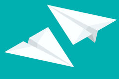 Isometric Paper airplane flying on background. Paper planes icon set in simple flat style. Vector illustration. Royalty Free Stock Photos